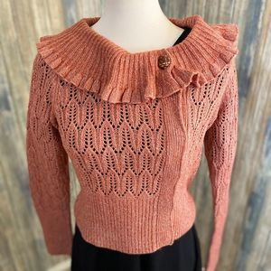 Moth/Anthro cardigan wish ruffle collar